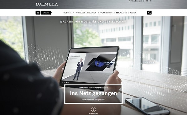 Daimler blog screenshot