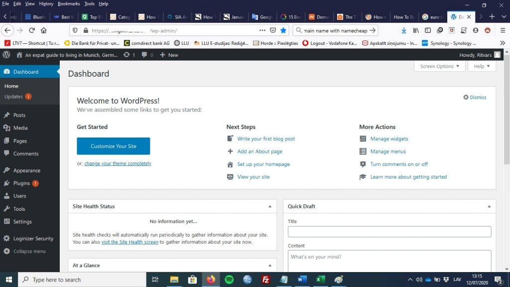 How to Start a WordPress Blog in 2020: WordPress dashboard