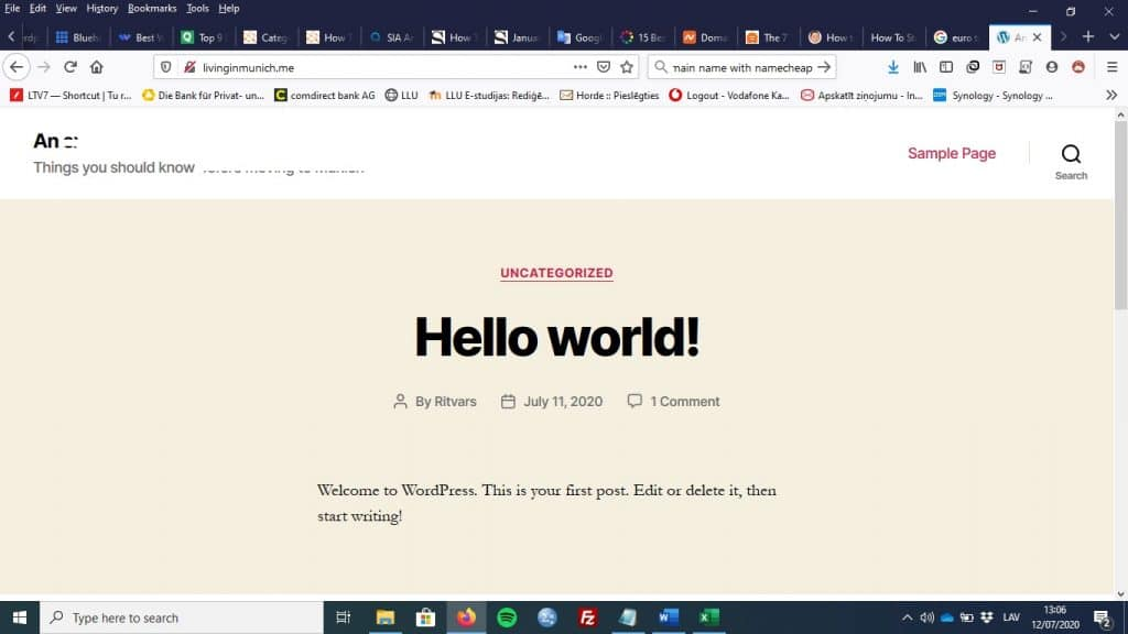 How to Start a WordPress Blog in 2020: WordPress sample page