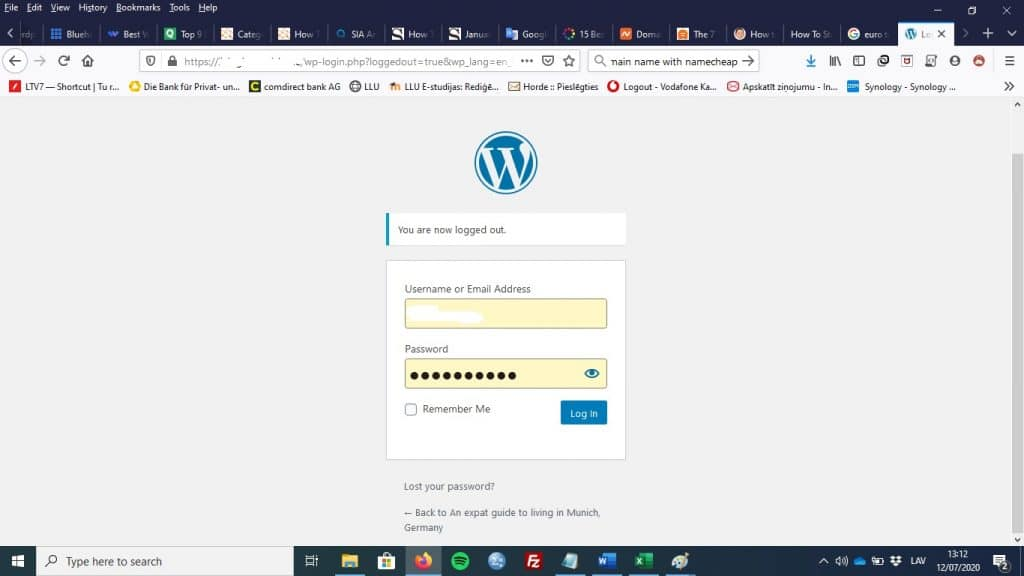 WordPress admin login page