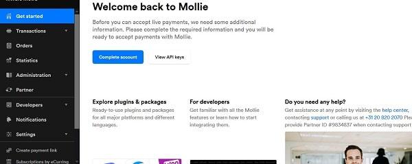 Mollie, Dashboard